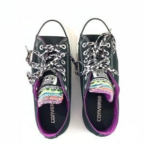 Converse All Star multicolor tongue black shoes 8